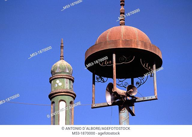 louspeakers mounted on a minaret of the Grand Mosque  Tulufan  China