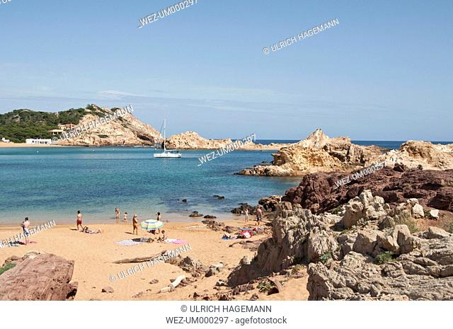 Spain, Balears, Menorca, Tourist on beach