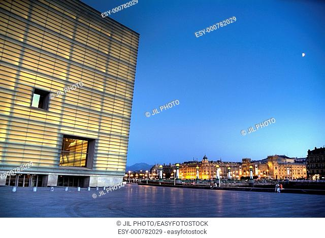 Kursaal Center by Rafael Moneo at night, San Sebastian, Guipuzcoa, Basque Country, Spain