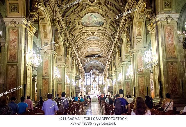 Cathedral, interior, Plaza de Armas, Santiago. Chile