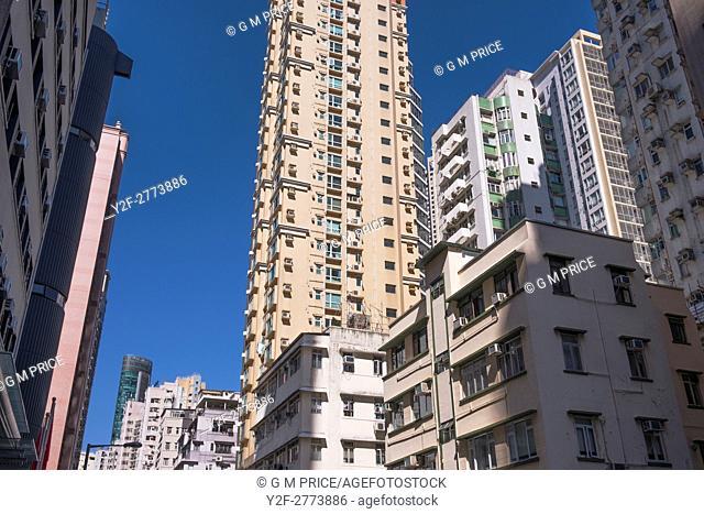 looking up at apartment buildings, Happy Valley, Hong Kong