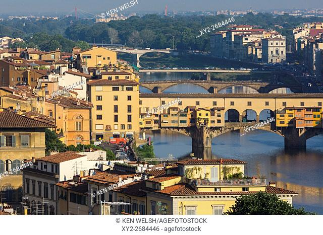 Florence, Florence Province, Tuscany, Italy. View from Piazzale Michelangelo to bridges across Arno river. Ponte Vecchio in foreground