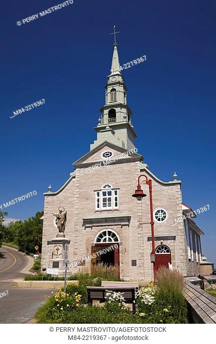 Saint-Jean church (1734) in summer, Saint-Jean, Ile d'Orleans, Quebec, Canada