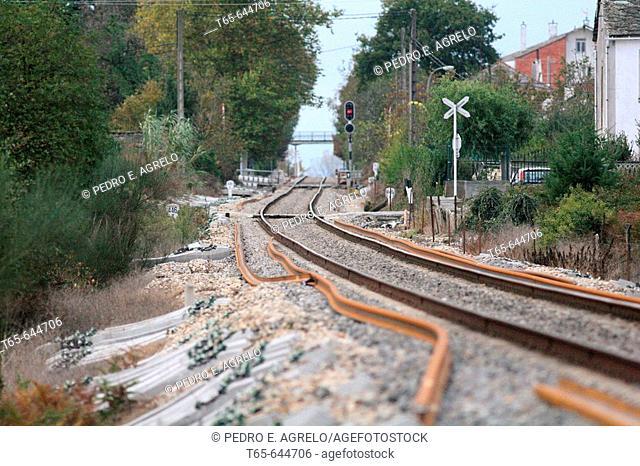 Railroad track. Rabade. Lugo province, Galicia. Spain