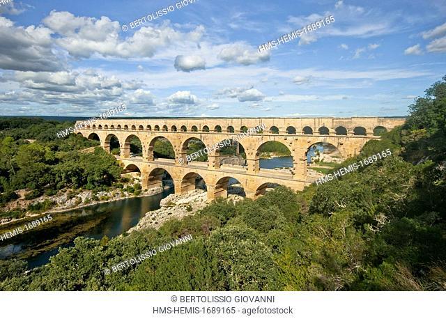 France, Gard, Pont du Gard listed as World Heritage by UNESCO, Roman aqueduct bridge, length 274m, height 49m