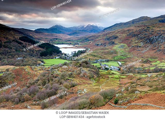 A view above Capel Curig with Mount Snowdon in the background