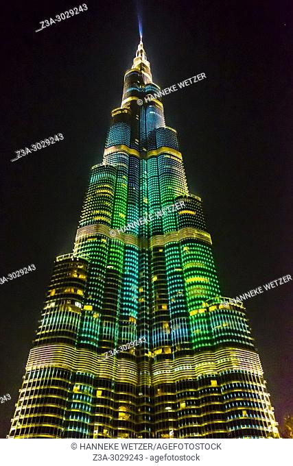 Light show at the Burj Khalifa in Dubai, highest building of the world