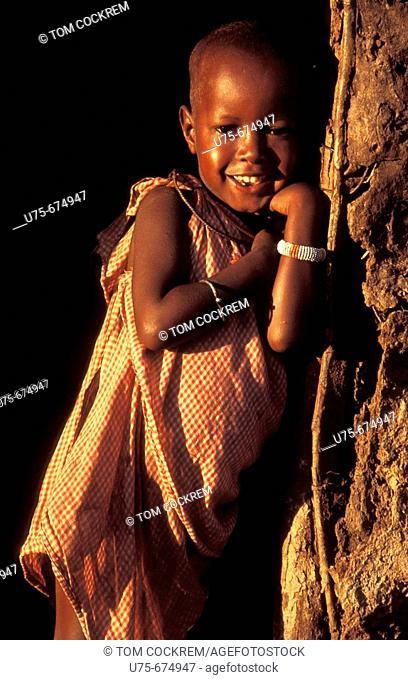 Masai child in village, Masai mara, kenya