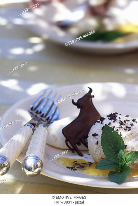 dessert with chocolate bull