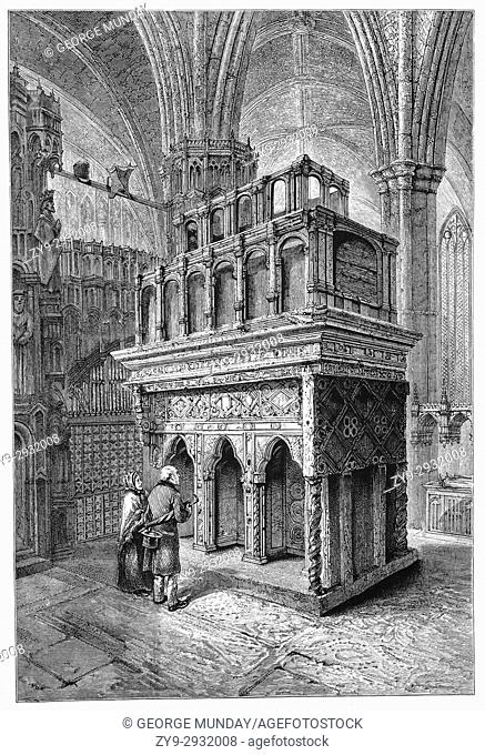 "1870: Pilgrims at the shrine of Edward the Confessor (1003 â. "" 1066) who was the first Anglo-Saxon and the only king of England to be canonised"