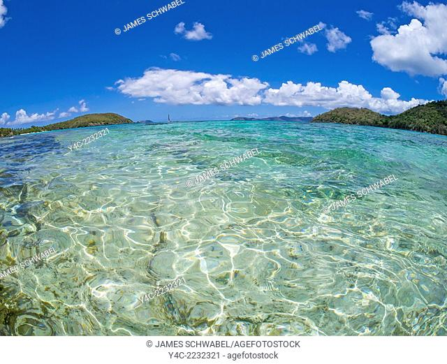 Clear clean water of the Caribbean Sea on the Caribbean Island of St John in the US Virgin Islands