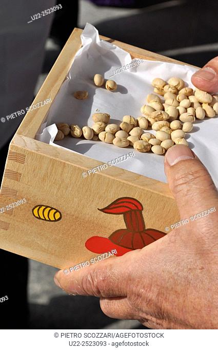 Naha, Okinawa, Japan: roasted soybeans irimame used to be thrown to the crowd during Mamemaki Festival at Naminoue Shrine on 3rd February for good luck