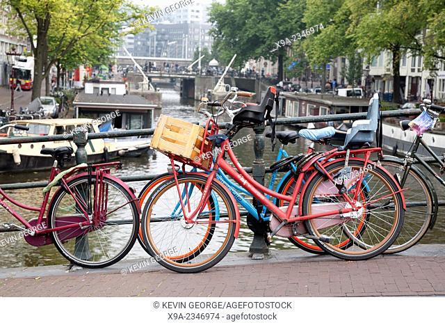 Bikes and Canal Bridge, Amsterdam, Holland