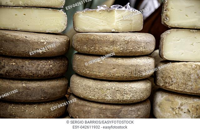 Cheeses in a market, dairy product, high-fat meal