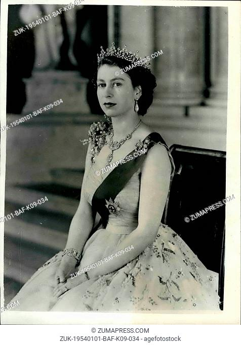 Jan. 01, 1954 - New Royal Command Portrait of H.M. Queen Elizabeth II at Buckingham Palace.: H.M. The Queen posed for this new portrait on the small staircase...