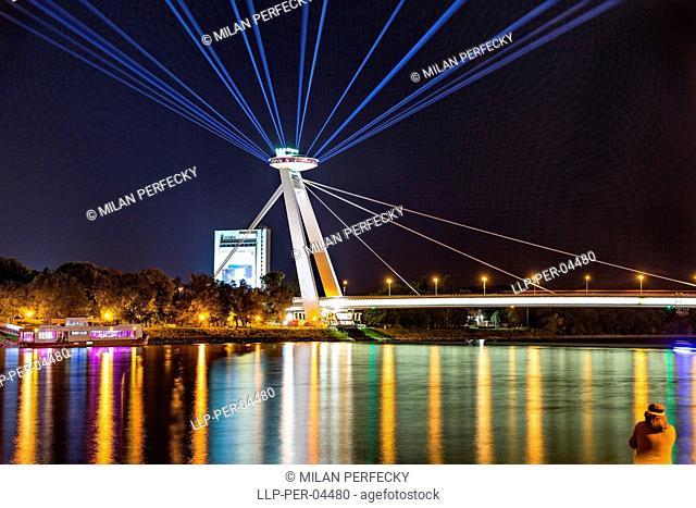 UFO, White Night, SNP Bridge, Bratislava, Slovakia sky