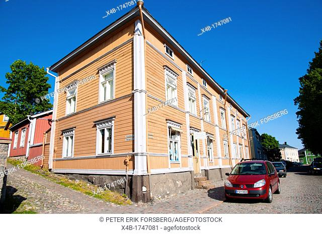 Wooden block of flats in residential district central Porvoo Uusimaa province Finland northern Europe