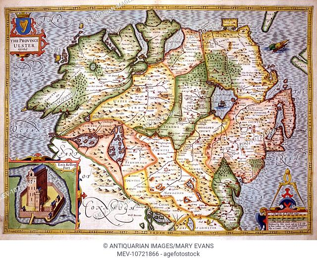 17th century Map of the County of Ulster, Northern Ireland