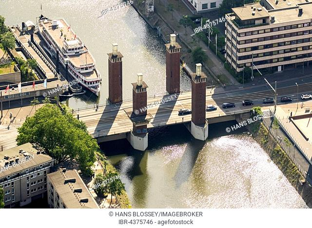Aerial view, Schwanentor and inner harbor canal, Duisburg, Ruhr district, North Rhine-Westphalia, Germany