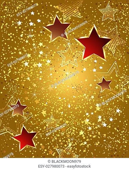background of gold foil with red and gold stars
