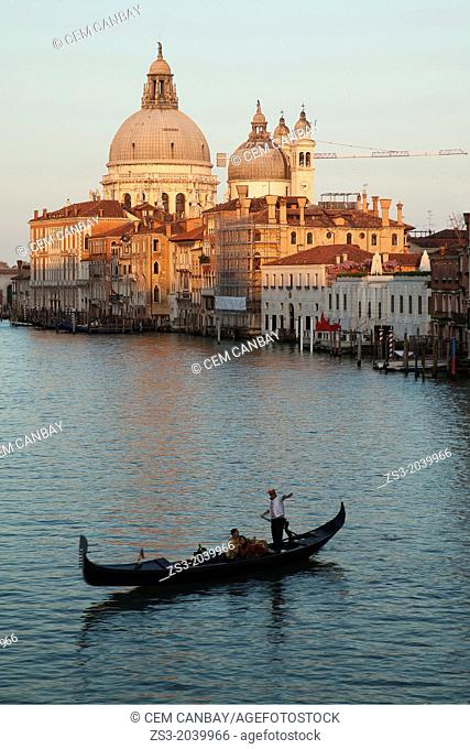 Gondola in front of Our Lady of the Salute Church at sunset, Venice, Veneto, Italy, Europe