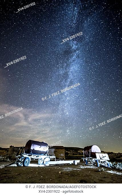 Agricultural Deposit trailer with milky way background in Monegros, Aragón, Spain