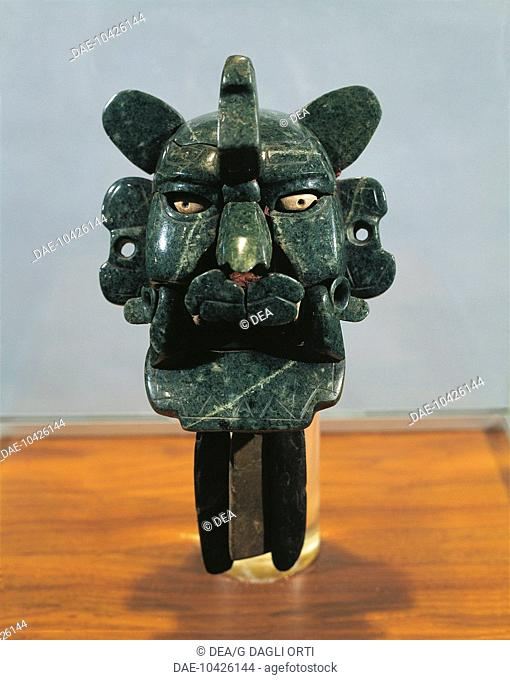 Mixtec civilization, Mexico. Jade mask in the form of a bat. From Monte Alban.  Mexico City, Museo Nacional De Antropología (Anthropology Museum)