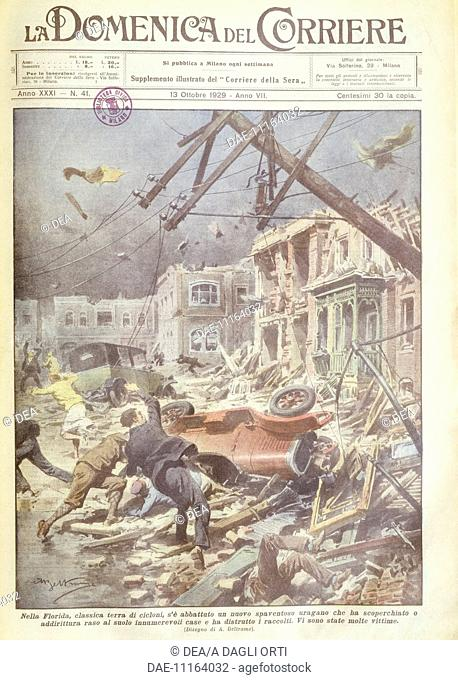 United States of America, 20th century - Hurricane in Florida. Cover illustration from La Domenica del Corriere, Sunday supplement to Italian daily newspaper Il...