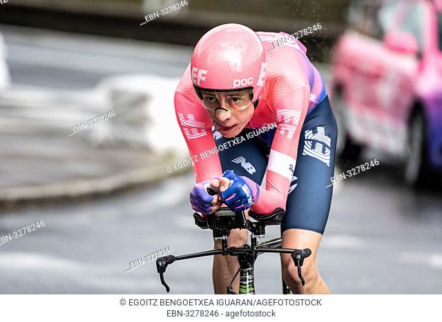 Hugh John Carthy at Zumarraga, at the first stage of Itzulia, Basque Country Tour. Cycling Time Trial race