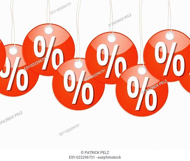 rote runde Anhänger mit % Zeichen - endlos