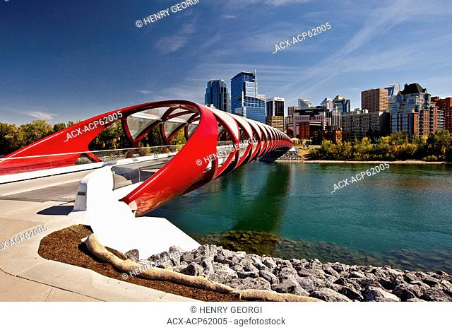 Calgary Peace Bridge and downtown highrise buildings, (Peace Bridge is a pedestrian bridge, designed by renowned Spanish architect Santiago Calatrava), Calgary