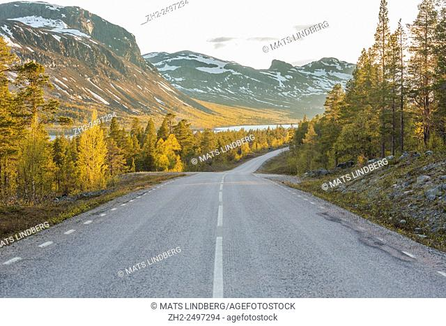 Landscape with a road going straight, birches that are bursting in to leaves on the side, a big mountains with snow in background and water can be seen below...