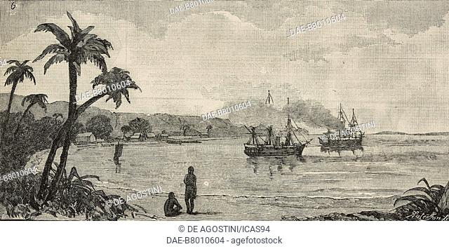 View of Havannah Harbour, Sandwich Island, Efate Island, Vanuatu, engraving by Robert Paterson from The Illustrated London News, No 2548, February 18, 1888
