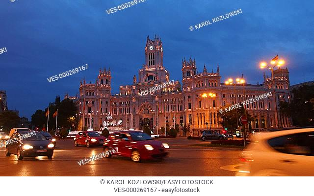 Night view of The Cybele Palace on Plaza de Cibeles - Cibeles Square in Madrid, Spain