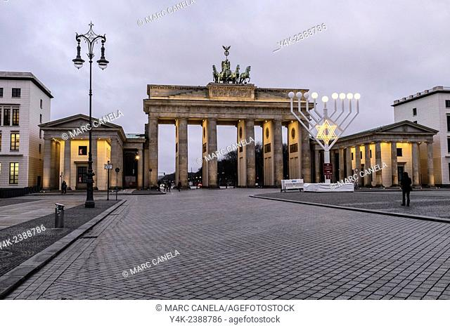 Europe, Germany, Berlin, The Brandenburg Gate German: Brandenburger Tor is an 18th-century neoclassical triumphal arch in Berlin