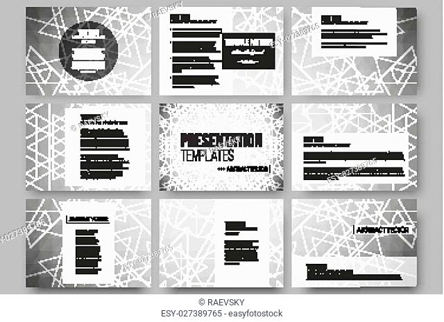 Set of 9 vector templates for presentation slides. Sacred geometry, triangle design gray background. Abstract vector illustration