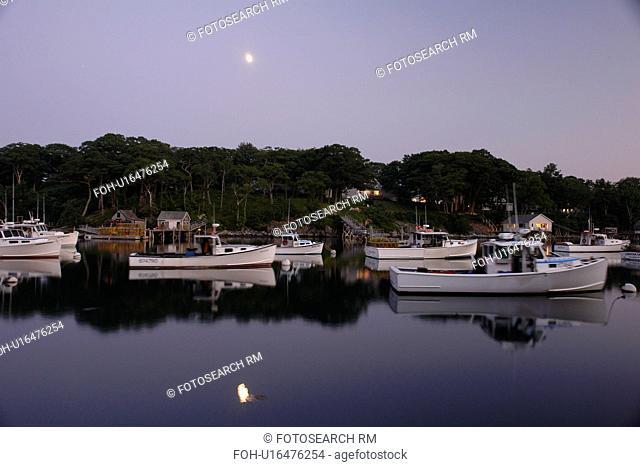 New Harbor, ME, Maine, Pemaquid, fishing harbor, evening