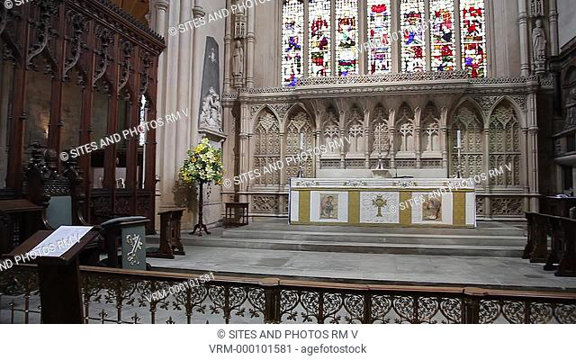 PAN, interior. The sanctuary is the focus of the Abbey's worship and at its center is the altar. The embroidered cloth or frontal that decorates the altar...
