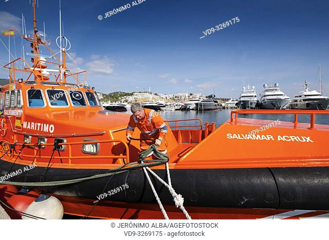 Salvamento Maritimo. Marine rescue boat. Lifeboat moored in the harbor at Marina Puerto Portals, Palma de Mallorca. Majorca, Balearic Islands, Spain Europe