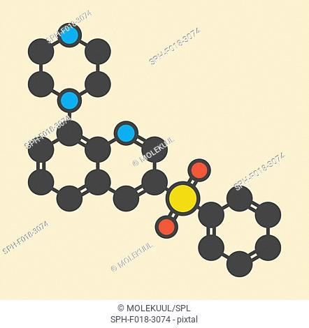 Intepirdine Alzheimer's disease drug molecule. Stylized skeletal formula (chemical structure): Atoms are shown as color-coded circles: hydrogen (hidden)