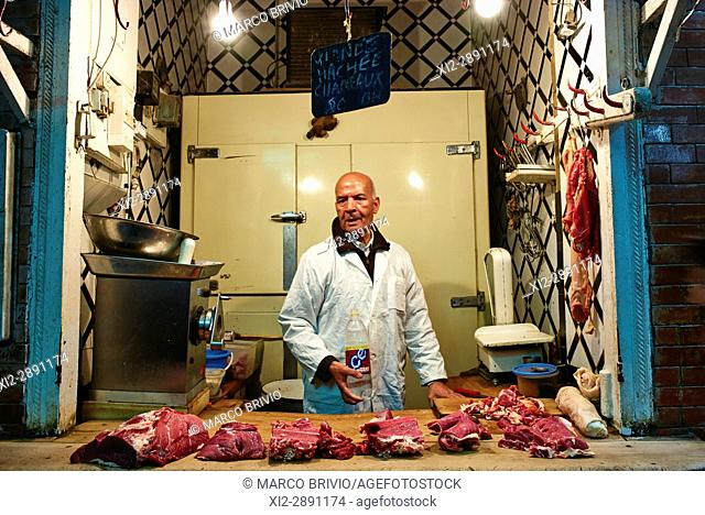 Butcher's shop selling camel meat in the souk of Meknes, Morocco