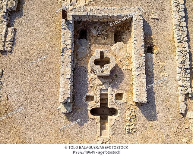basilica paleocristiana Son Peretó , baptisterio, con doble piscina bautismal, siglos V-VI d. C, Manacor, Majorca, Balearic Islands, Spain
