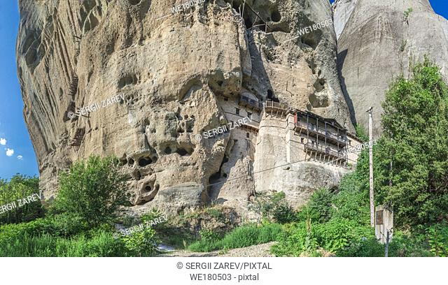 Monastic cave hermit monks houses and rock formation in Meteora near Trikala, Greece