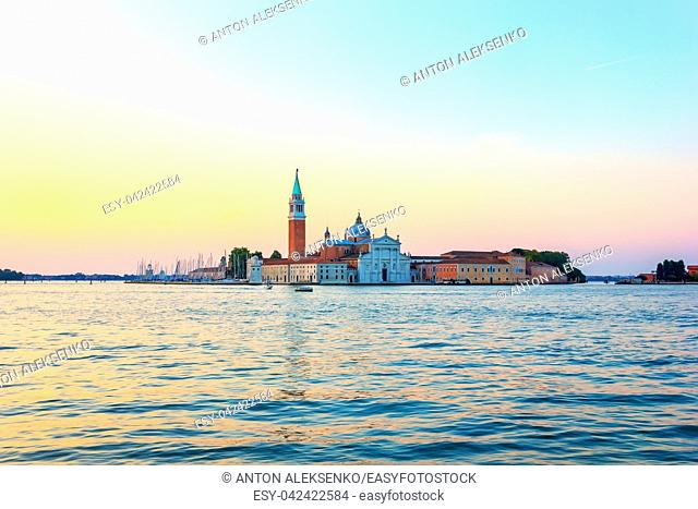 San Giorgio Maggiore island at sunrise, view from the pier near Doge's Palace
