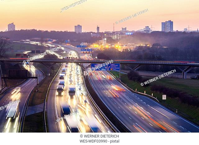 Germany, Baden-Wuerttemberg, Autobahn A8 near Stuttgart at twilight