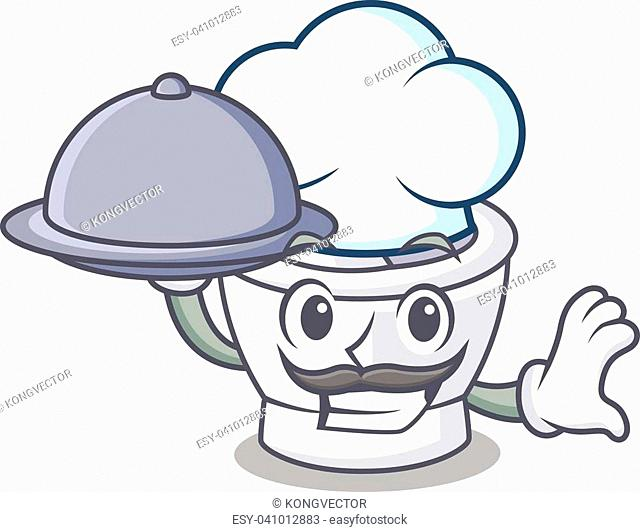 Chef with food mortar mascot cartoon style vector illustration