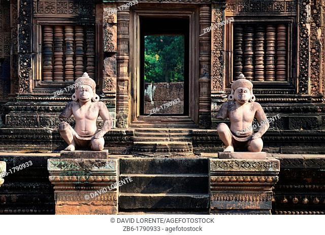 Statues inside the temple of Banteay Srei Angkor Cambodia