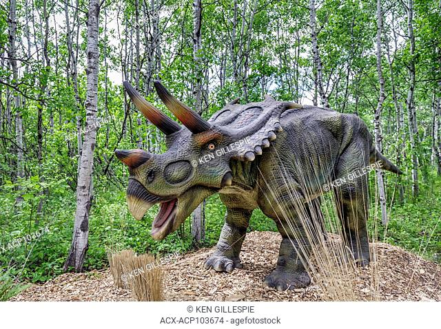 Mojoceratops at Dinosaurs Alive, life-size animatronic dinosaur, Assiniboine Park Zoo, Winnipeg, Manitoba, Canada