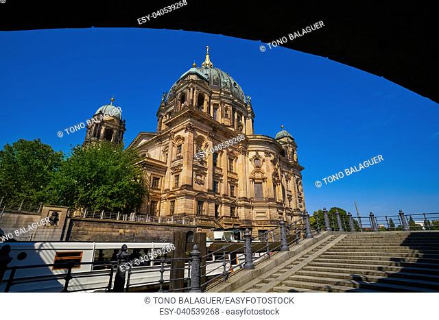 Berlin Cathedral Berliner Dom from Spree river in Germany