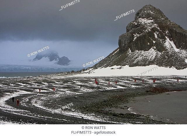 Travelers Explore Half Moon Island in the Antarctic Archipelago